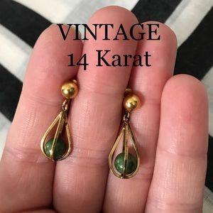 Jewelry - Vintage 14 K Gold Jade Earrings